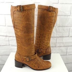 Newport News 8 brown faux croc vegan tall boots
